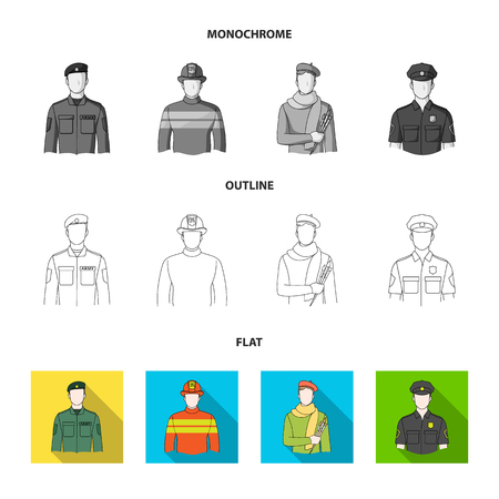 Military, fireman, artist, policeman.Profession set collection icons in flat,outline,monochrome style vector symbol stock illustration web.