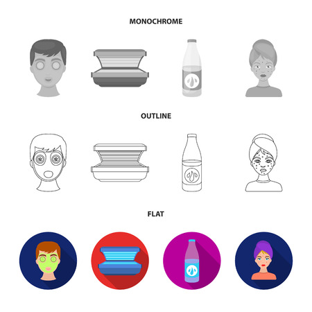 Face mask, solarium, bottle ts lasenom, pimples on face. Skin Care set collection icons in flat,outline,monochrome style vector symbol stock illustration web.