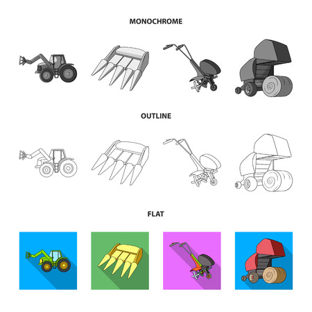Motoblock and other agricultural devices. Agricultural machinery set collection icons in flat,outline,monochrome style vector symbol stock illustration web.