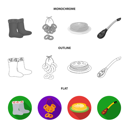 Felt, boots, drying, gingerbread .Russia country set collection icons in flat,outline,monochrome style vector symbol stock illustration web. Banque d'images - 105947020