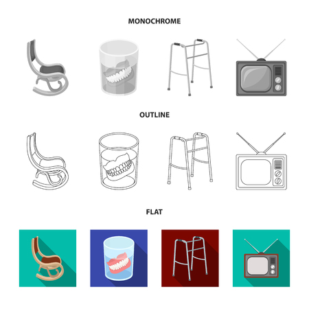 Denture, rocking chair, walker, old TV.Old age set collection icons in flat,outline,monochrome style vector symbol stock illustration web. Illustration