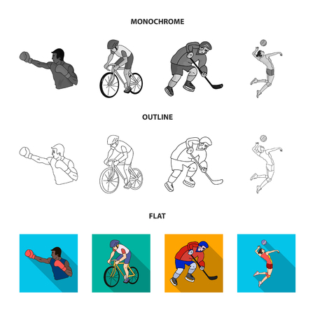 Cycling, boxing, ice hockey, volleyball. sport set collection icons in flat,outline,monochrome style vector symbol stock illustration web.