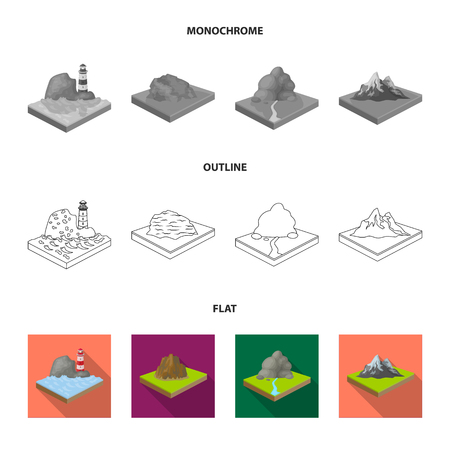 Mountains, rocks and landscape. Relief and mountains set collection icons in flat,outline,monochrome style isometric vector symbol stock illustration web.