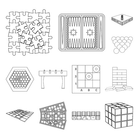 Board game outline icons in set collection for design. Game and entertainment vector symbol stock web illustration.