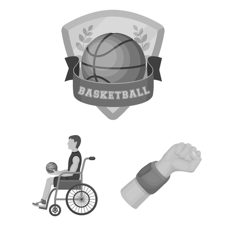 Basketball and attributes monochrome icons in set collection for design.Basketball player and equipment bitmap symbol stock  illustration.