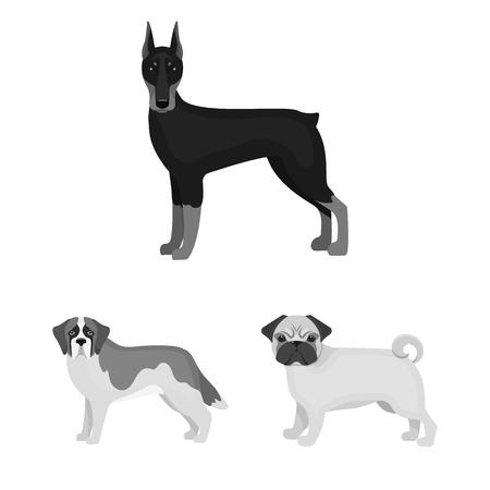 Dog breeds monochrome icons in set collection for design.Dog pet bitmap symbol stock  illustration.