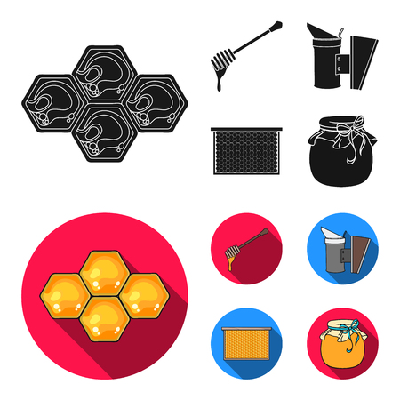 A frame with honeycombs, a ladle of honey, a fumigator from bees, a jar of honey.Apiary set collection icons in black, flat style bitmap symbol stock illustration . Stock Photo