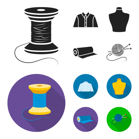A man shirt, a mannequin, a roll of fabric, a ball of threads and knitting needles.Atelier set collection icons in black, flat style bitmap symbol stock illustration .