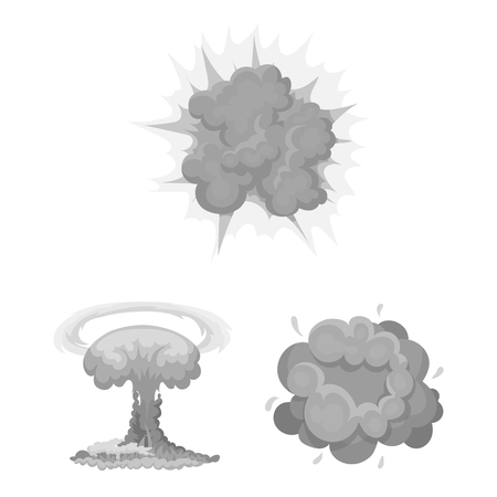 Different explosions monochrome icons in set collection for design.Flash and flame bitmap symbol stock  illustration. Фото со стока