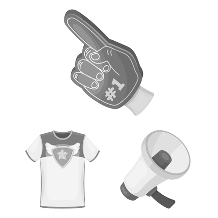 Fan and Attributes monochrome icons in set collection for design. Sports Fan bitmap symbol stock  illustration.