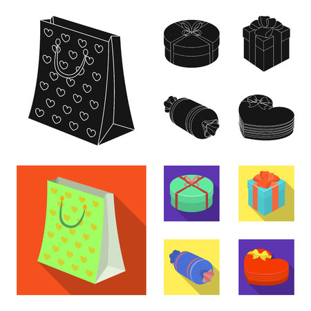Gift box with bow, gift bag.Gifts and certificates set collection icons in black, flat style bitmap symbol stock illustration . Stock Photo