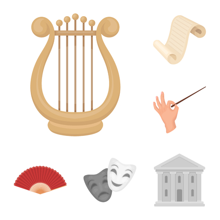 Theatrical art cartoon icons in set collection for design.Theater equipment and accessories bitmap symbol stock  illustration.