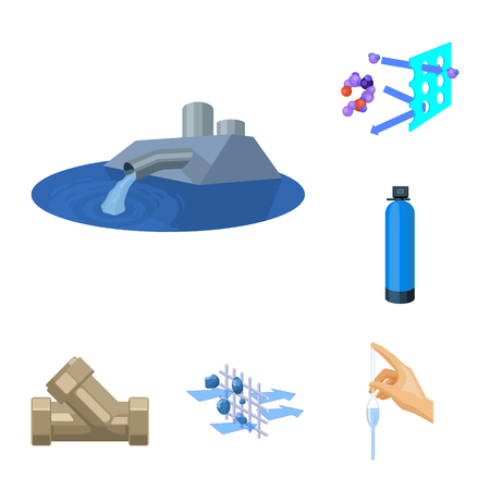 Water filtration system cartoon icons in set collection for design. Cleaning equipment bitmap symbol stock  illustration. 版權商用圖片
