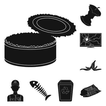 Garbage and waste black icons in set collection for design. Cleaning garbage bitmap symbol stock  illustration.