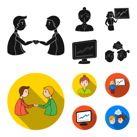 Businesswoman, growth charts, brainstorming.Business-conference and negotiations set collection icons in black, flat style bitmap symbol stock illustration .