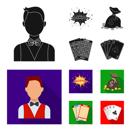 Jack sweat, a bag with money won, cards for playing Bingo, playing cards. Casino and gambling set collection icons in black, flat style bitmap symbol stock illustration .