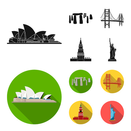 Sights of different countries black, flat icons in set collection for design. Famous building bitmap symbol stock  illustration.
