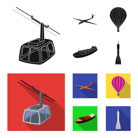 A drone, a glider, a balloon, a transportation barge, a space rocket transport modes. Transport set collection icons in black, flat style bitmap symbol stock illustration .