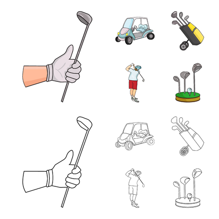 A gloved hand with a stick, a golf cart, a trolley bag with sticks in a bag, a man hammering with a stick. Golf Club set collection icons in cartoon,outline style bitmap symbol stock illustration .