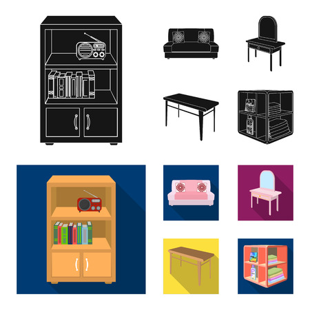 Soft sofa, toilet make-up table, dining table, shelving for laundry and detergent. Furniture and interior set collection icons in black, flat style isometric bitmap symbol stock illustration . Imagens