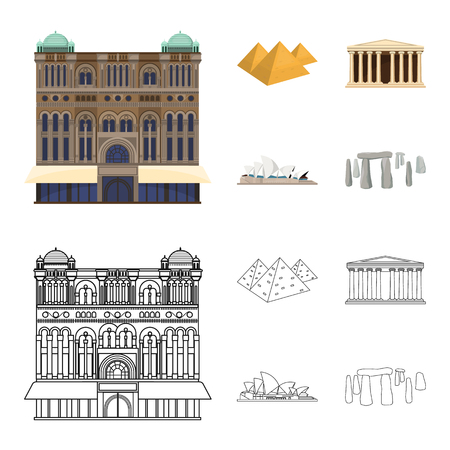 Sights of different countries cartoon,outline icons in set collection for design. Famous building bitmap symbol stock  illustration. 写真素材