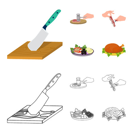 Cutlass on a cutting board, hammer for chops, cooking bacon, eating fish and vegetables. Eating and cooking set collection icons in cartoon,outline style bitmap symbol stock illustration web. Banque d'images - 105974365