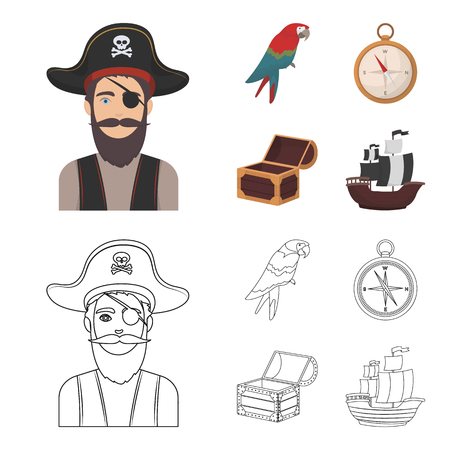 Pirate, bandit, hat, bandage .Pirates set collection icons in cartoon,outline style bitmap symbol stock illustration web.