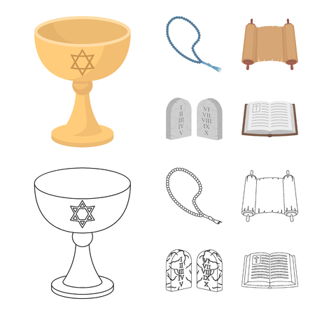 A cup of wine, Islamic beads, ten commandments, tanakh. Religion set collection icons in cartoon,outline style bitmap symbol stock illustration web.
