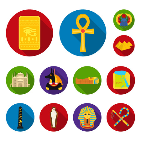 Ancient Egypt flat icons in set collection for design. The reign of Pharaoh bitmap symbol stock web illustration.