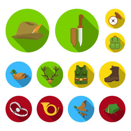 Hunting and trophy flat icons in set collection for design. Hunting and equipment bitmap symbol stock web illustration.