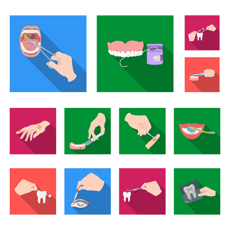 Manipulation by hands flat icons in set collection for design. Hand movement in medicine bitmap symbol stock web illustration.