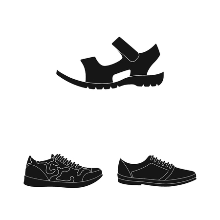 Different shoes black icons in set collection for design. Men and women shoes vector symbol stock web illustration.