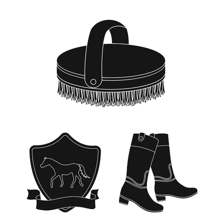 Hippodrome and horse black icons in set collection for design. Horse Racing and Equipment vector symbol stock web illustration. Vectores