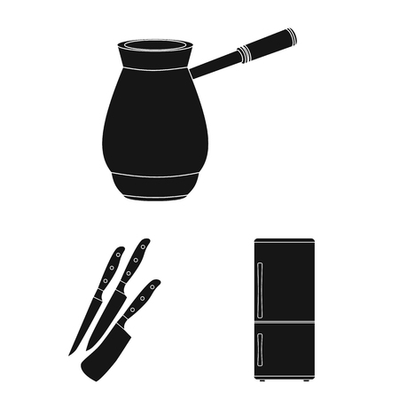 Kitchen equipment black icons in set collection for design. Kitchen and accessories vector symbol stock web illustration.  イラスト・ベクター素材