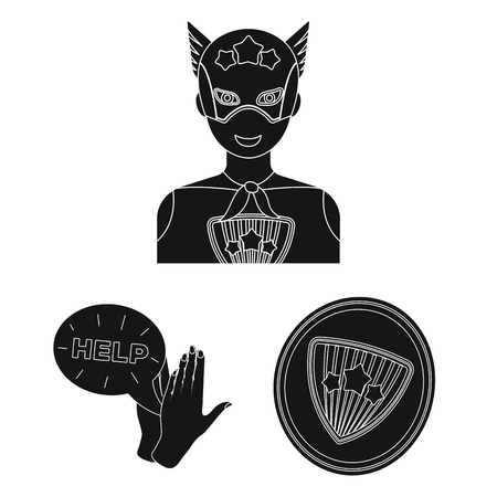 A fantastic superhero black icons in set collection for design. Superhero equipment vector symbol stock web illustration.