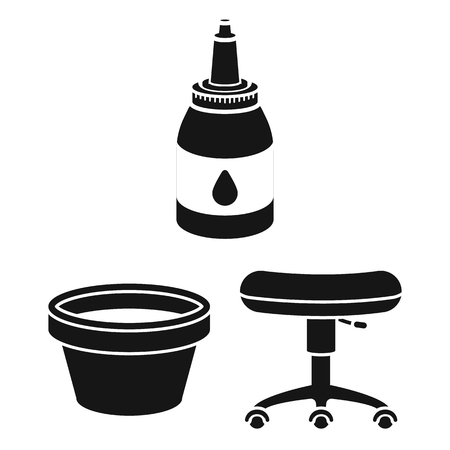 Tattoo, drawing on the body black icons in set collection for design. Tattoo salon and equipment vector symbol stock web illustration.