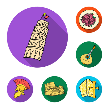 Country Italy flat icons in set collection for design. Italy and landmark vector symbol stock  illustration. Illustration