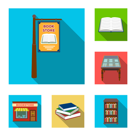 Library and bookstore flat icons in set collection for design. Books and furnishings vector symbol stock  illustration. Vettoriali