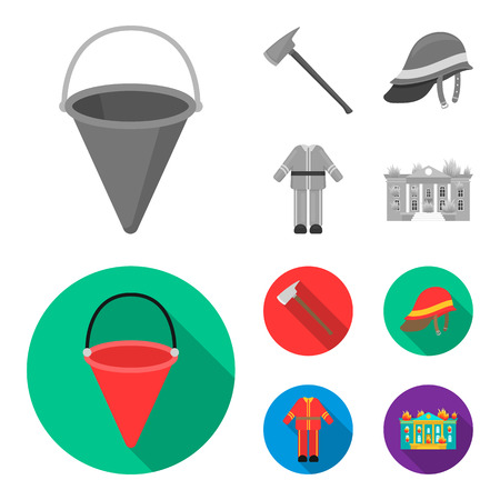Ax, helmet, uniform, burning building. Fire departmentset set collection icons in monochrome,flat style vector symbol stock illustration . Illustration