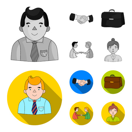 Businessman, handshake, portfolio, agreement.Business-conference and negotiations set collection icons in monochrome,flat style vector symbol stock illustration .