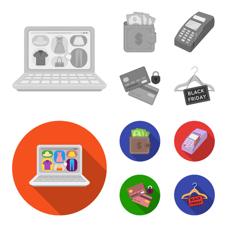 Purse, money, touch, hanger and other equipment. E commerce set collection icons in monochrome,flat style vector symbol stock illustration .