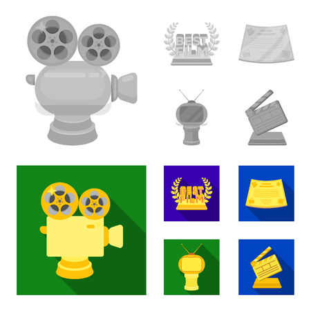 Silver camera. A bronze prize in the form of a TV and other types of prizes.Movie awards set collection icons in monochrome,flat style vector symbol stock illustration . Stock Illustratie