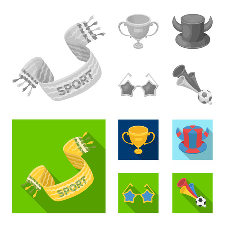 A scarf, a hat with horns and other attributes of the fans.Fans set collection icons in monochrome,flat style vector symbol stock illustration .
