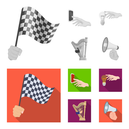 Electric switch button, incandescent lamp and other  icon in monochrome,flat style. harp playing, Megaphone in hand icons in set collection. Ilustração