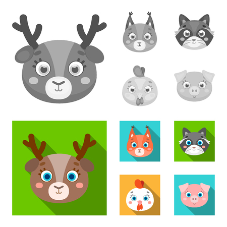 Protein, raccoon, chicken, pig. Animal muzzle set collection icons in monochrome,flat style vector symbol stock illustration web. Ilustrace