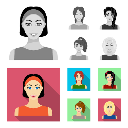 Types of female hairstyles monochrome,flat icons in set collection for design. Appearance of a woman vector symbol stock web illustration. Vettoriali