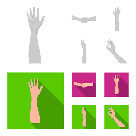 Sign Language monochrome,flat icons in set collection for design.Emotional part of communication vector symbol stock illustration.