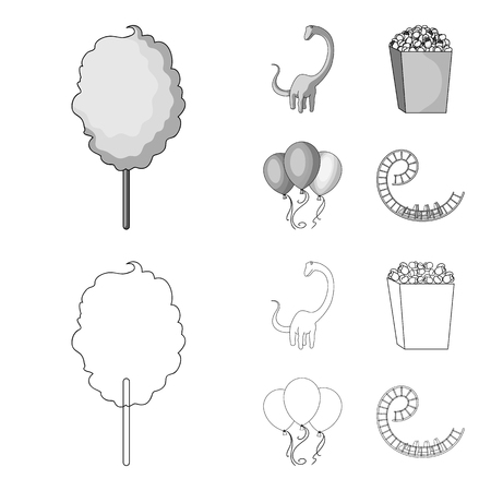 Sweet cotton wool on a stick, a toy dragon, popcorn in a box, colorful balloons on a string. Amusement park set collection icons in outline,monochrome style vector symbol stock illustration web.  イラスト・ベクター素材
