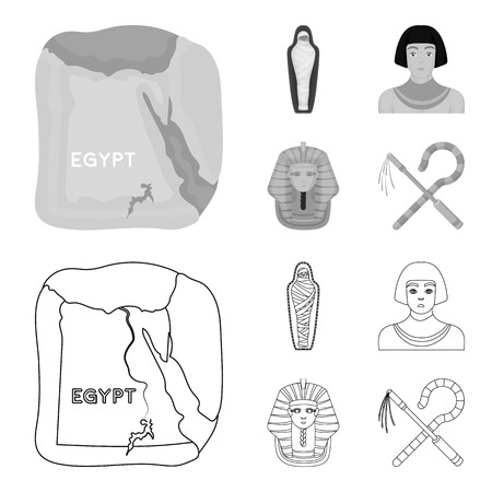 Crook and flail,a golden mask, an egyptian, a mummy in a tomb.Ancient Egypt set collection icons in outline,monochrome style vector symbol stock illustration web.