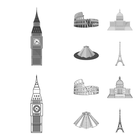Sights of different countries outline,monochrome icons in set collection for design. Famous building vector symbol stock web illustration.